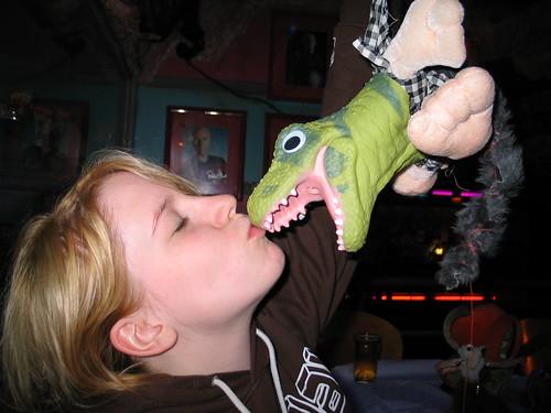 Rachel Creamer giving some love to her newly made monster named 'Gareth'