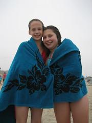 Micaela and Jessica dry off on Venice Beach