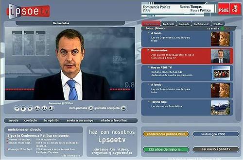 Imagen de la nueva televisión del partido socialista en Internet