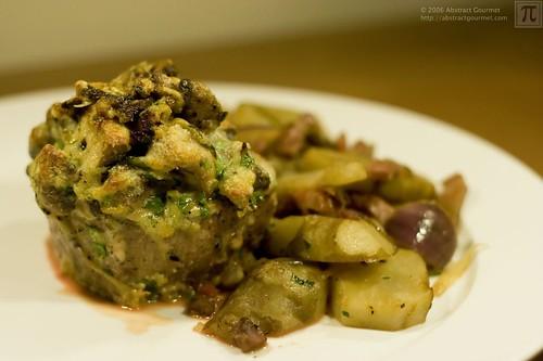 Beef Fillet with Mushroom Gratin & Sauteed Jerusalem Artichokes