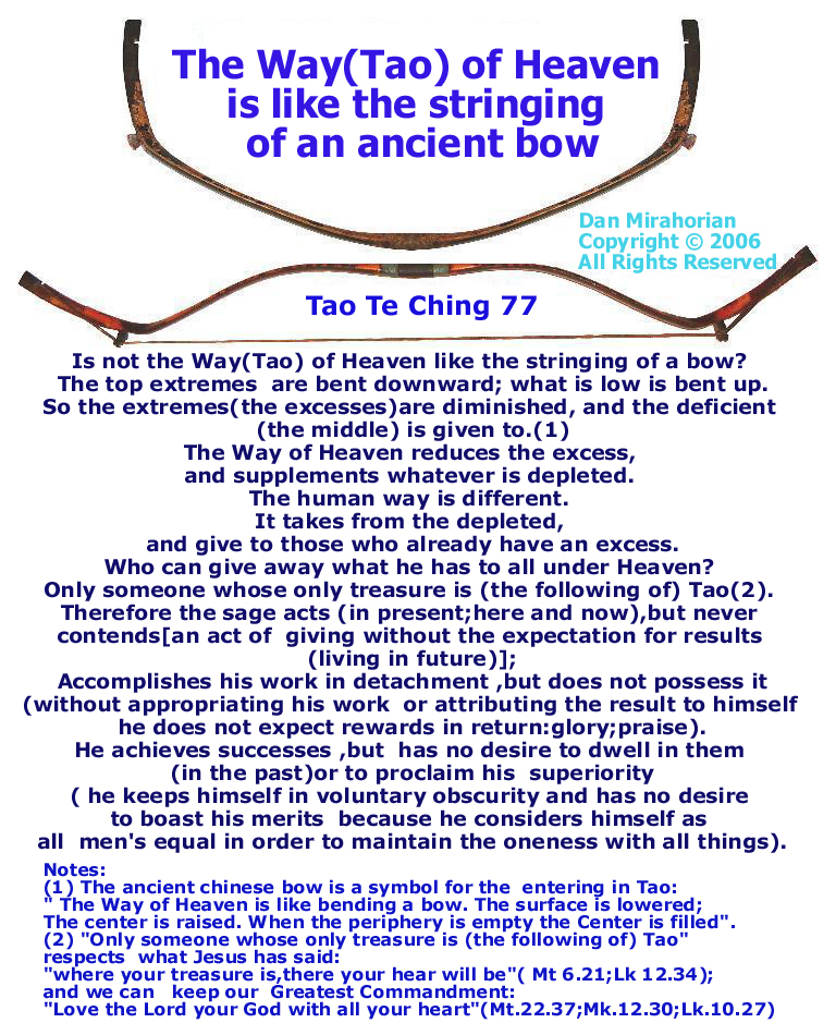 77 The Way(Tao) of Heaven is like the stringing of an ancient bow