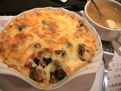 beef gratin and soup