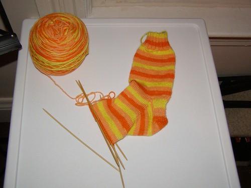Candy Corn sock, nearing toe-decreases