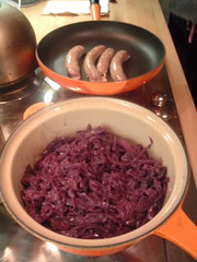 Red cabbage and sausage