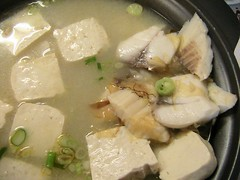 miso soup with fish and tofu