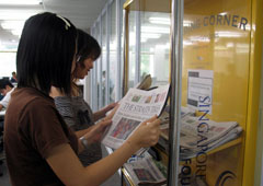 Singapore Polytechnic Library newspaper reading corner