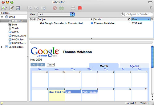 Google Calendar & Thunderbird