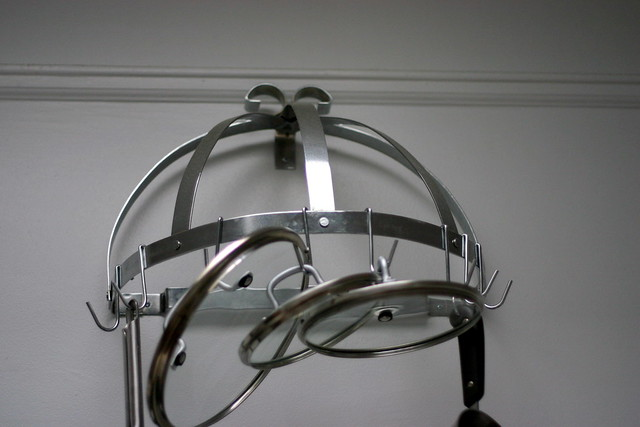 mostly empty pot rack