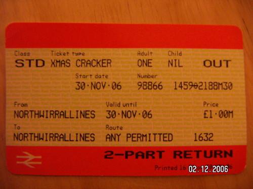 Christmas Cracker ticket