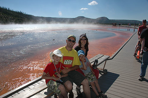 Yellowstone Midway Geyser - Us in Grand Prismatic Spring