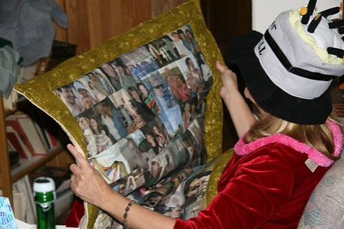 Mom admiring photo quilt