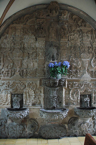 Acambaro - 09 Baptism basin in Templo del Hospital