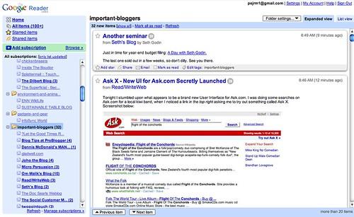 Google Reader screenshot