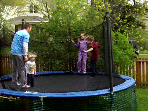R.J. and kids on trampoline