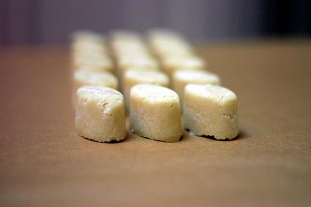 marzipan, ice cube tray-molded