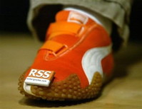RSS badge on a shoe