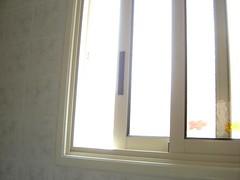 through the bathroom window