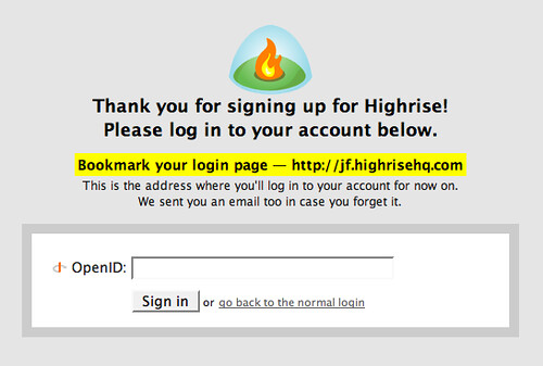 Highrise will support OpenID