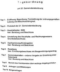 Tagesordnung der 22. Gemeinderagtsitzung