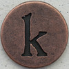 Copper Lowercase Letter k