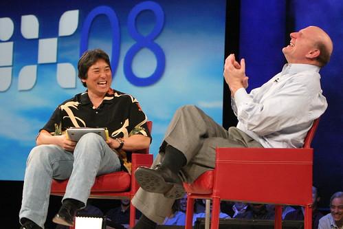 Guy Kawasaki and Steve Ballmer during MIX08 keynote