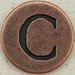 Copper Uppercase Letter C