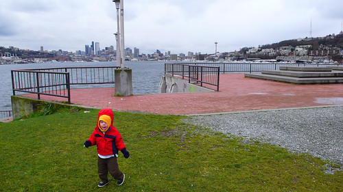 Alex, Lake Union, and the Seattle skyline