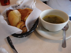 Pot Likker and Cornbread (and roll, and sweet roll) at Mary Mac's Tea Room, Atlanta GA