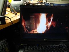 Checking out a DVD on the new HP nc8230