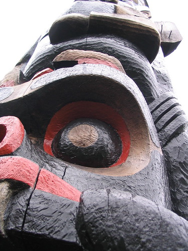 Close up of totem pole in British Columbia