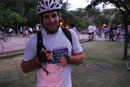 Damien Howley getting ready to ride in Critical Mass San Diego