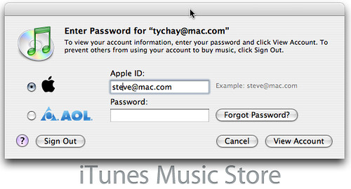 iTunes Music Store login