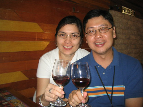 Enjoying red wine at the Wineshop