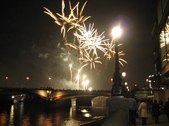 Fireworks over Southwark Bridge