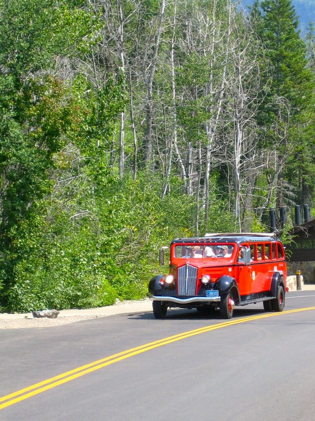 Restored Jammer in Glacier National Park