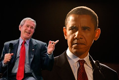 bush laughs at obama