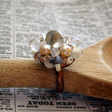 clear and pearl ring