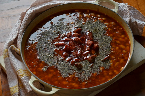 Chorizo and chickpea soup-stew
