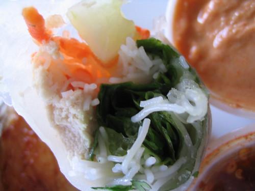 Close up of Saffron chicken salad rolls