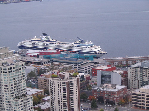 View of our cruise ship from the Space Needle
