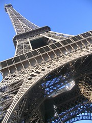 Image of the Eiffel Tower from nearly underneath it