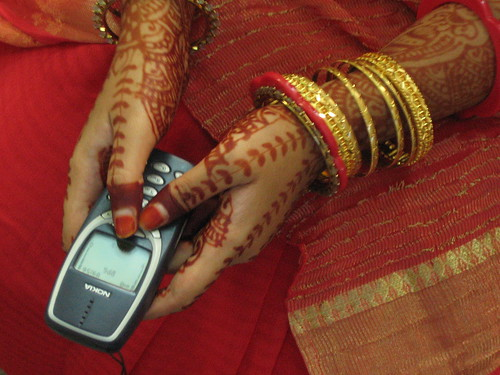 cellphone and bride