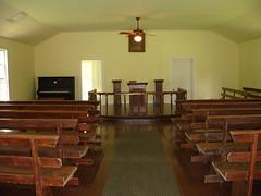 View inside Old Marbury Methodist Church, Confederate Memorial Park, Marbury AL