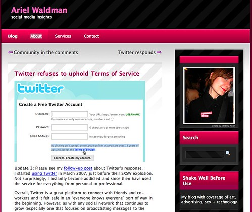 Ariel Waldman » Twitter refuses to uphold Terms of Service