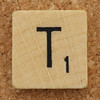 Wood Scrabble Tile T