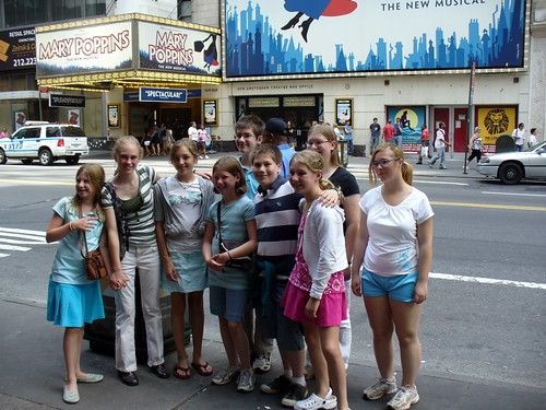 With some of the group in front of the theater.
