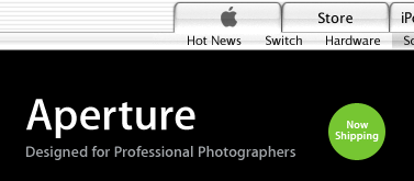 screenshot from Apple web site shows Aperture is shipping