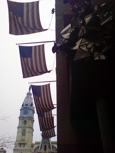 Cith Hall and flags, Philadelphia