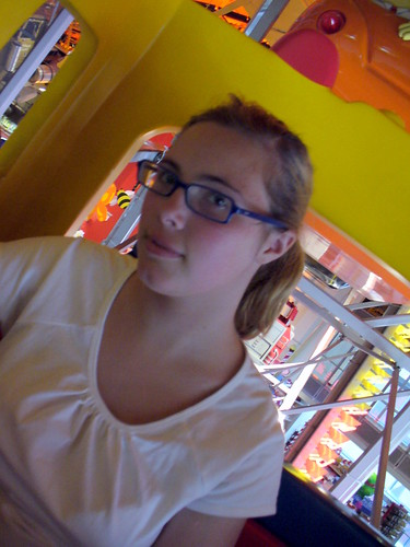 "Desiree giving me ""the look"" while we are riding the ferris wheel in Toys R Us"