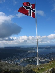 Norwegian flag on Ulriken